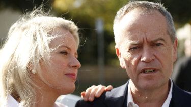 Bill Shorten and wife Chloe on Sunday, the day after the shock of his defeat.