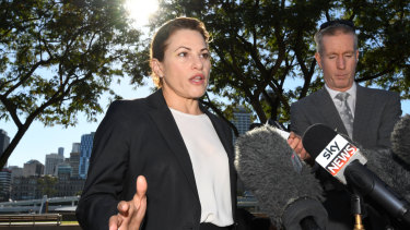 Queensland Treasurer Jackie Trad speaks to journalists before the June 12 budget.