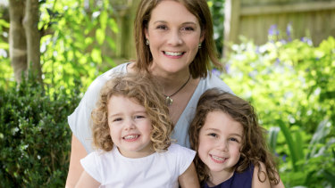 Brigid Glanville with Clementine, left, and Lola.