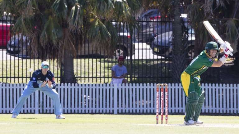 On-field reunion: Steve Smith looks on in slips as David Warner lets one go at Coogee Oval.