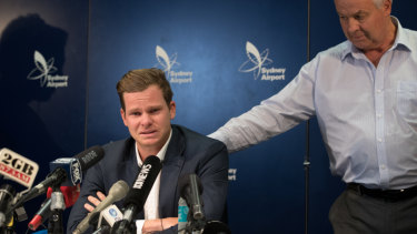 Former Australian cricket captain Steve Smith, flanked by his father Peter, weeps as he addresses media in March after the ball-tampering scandal.