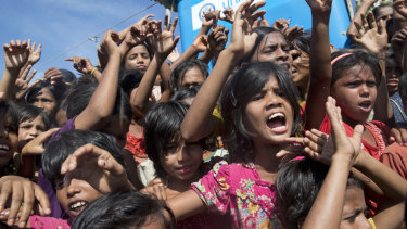 Rohingya refugees during a protest against the repatriation process at Unchiprang refugee camp near Cox's Bazar in Bangladesh on Thursday.
