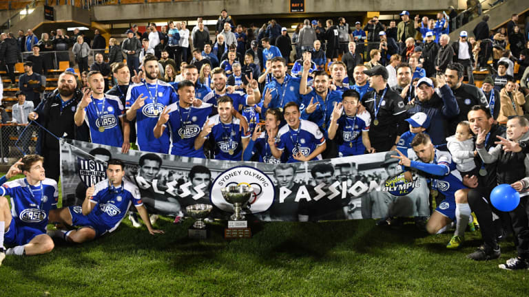 Sydney Olympic celebrate their NSW National Premier League final victory over APIA-Leichhardt.