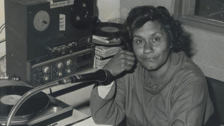 Pioneer: Freda Glynn at CAAMA Studios in 1984. Courtesy: Batty Collection.