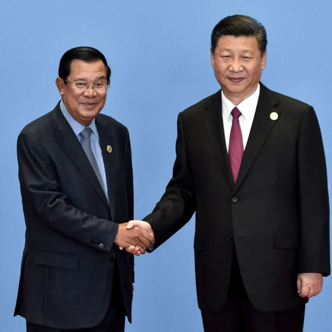 Hun Sen with Xi Jinping during the Belt and Road Forum in Beijing in 2017.