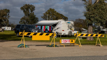 COVID-19 testing at the Albury showgrounds in August. The local government area recorded 48 new cases on Wednesday.