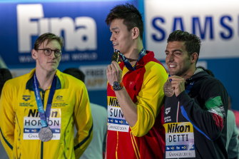 Mack Horton kept his distance from Sun Yang during the medal presentation at the Gwangju 2019 FINA World Championships,