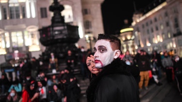 Christmas is next: Londoners celebrate Halloween last month.