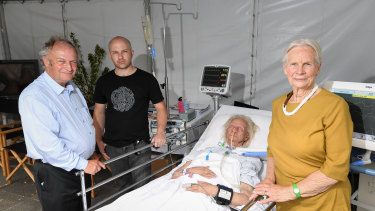 L-R Professor Charlie Corke, Senior ICU Specialist at Barwon Health, sculptor Dale Bamford and model Clare Adams.