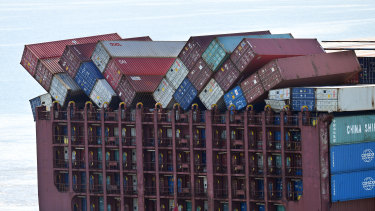 The container ship docks at the Port of Brisbane on Wednesday.