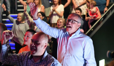 Scott Morrison at his Pentecostal church, Horizon, in Sydney.