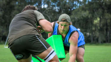 Wallabies captain Michael Hooper in action at training this week on the Hunter Valley.