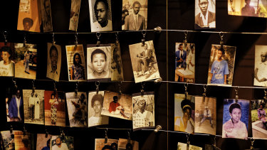 Photographs of some of those who died hang on display in an exhibition at the Kigali Genocide Memorial Centre.