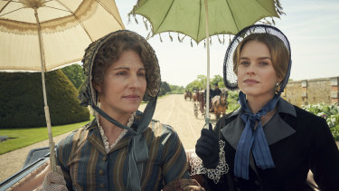Tamsin Greig and Emily Reid as Anne and Sophia Trenchard in Belgravia.
