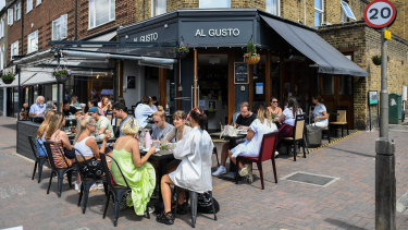 Londoners dining out in Clapham.