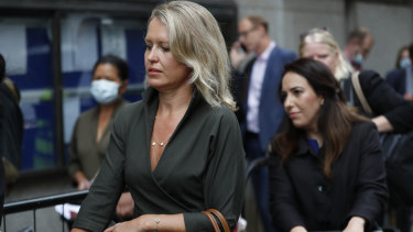 Julian Assange's lawyer Jennifer Robinson, left, and Assange's partner Stella Morris, wait to enter the Central Criminal Court Old Bailey in London on Tuesday.