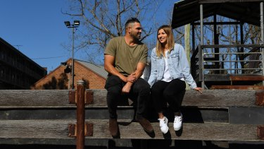 Greg Inglis and his partner Alyse Caccamo in Camden.