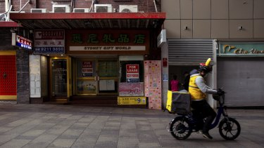 Shops for lease in Chinatown during a the latest COVID-19 lockdown.