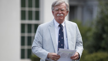 John Bolton, US national security adviser, announces sanctions against Iranian Foreign Minister Mohammad Zarif at the White House on Wednesday.