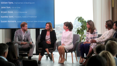 Prince Harry speaks to Chairwoman of booking.com Gillian Tans, CEO Ctrip Jane Sun, President Hotels TripAdvisor Kanika Soni, Global Head of Merchand Sales and Acquiring VISA Suzan Kereere and CEO Skyscanner Bryan Dove in Amsterdam.