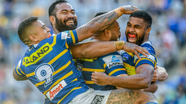 Michael Jennings celebrates a try for the Parramatta Eels
