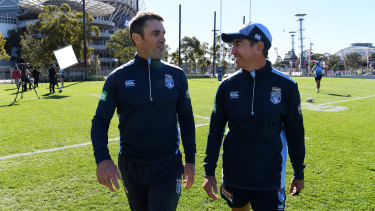 United: Brad Fittler and Greg Alexander at Blues training this week.