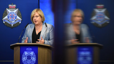 Victorian Police Minister Lisa Neville announces the ban on sales on March 31.