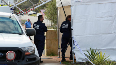 Forensics police at the scene in Ellenbrook.