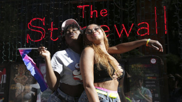 Celia Gooding and Laila Kelly in front of the Stonewall Inn ahead of the Queer Liberation March in New York on Sunday.