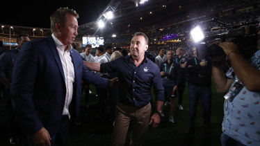 Trent Robinson and Ricky Stuart share a moment after last year's grand final.