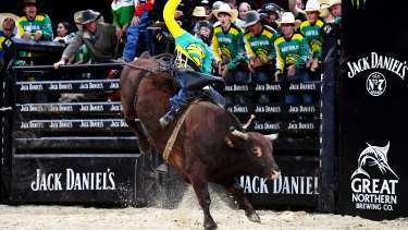 Troy Wilkinson in action for Australia during last year's PBR Global Cup in Sydney.