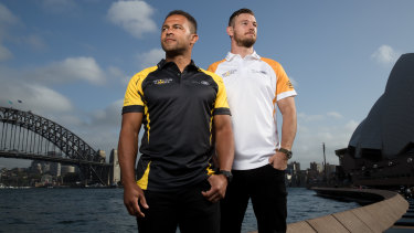 Jason Robinson, left, and Rob Horne, in Sydney ahead of a wheelchair rugby exhibition match at the Invictus Games.