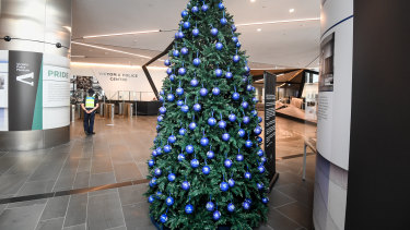 The Christmas tree at police headquarters hung with baubles carrying the names of road victims.