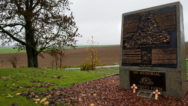 The bronze memorial to the 6300 Australian soldiers who died at Mouquet Farm.