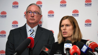 NSW Health Minister Brad Hazzard, left, and NSW Chief Health Officer Dr Kerry Chant.