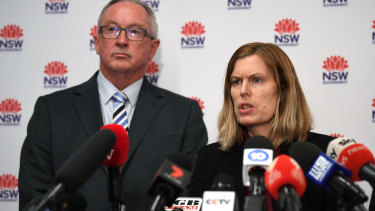 NSW Health Minister Brad Hazzard (left) and NSW Chief Health Officer Dr Kerry Chant speak to the media.