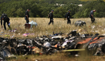 The MH17 crash site in eastern Ukraine in August 2014.