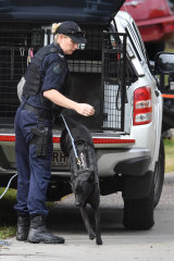 A police dog handler is seen at the mobile home park.