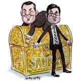 Brett Himbury and Greg Combet. Illustration: John Shakespeare