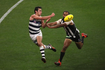 Sam Simpson in action against the Pies earlier this season.