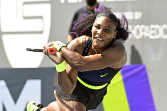 Serena Williams in action against Shelby Rogers.