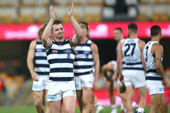 Patrick Dangerfield celebrates after Geelong's win.