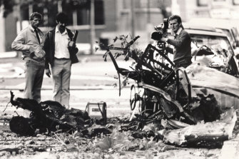 The car bomb that ripped through the police headquarters in Russell Street on March 27, 1986.