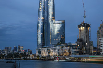 The $2.2 billion tower of Crown Sydney, where the gaming floors remain shut.
