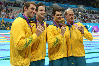 Christian Sprenger, James Magnussen,   Matt Targett and Hayden Stoeckel risk being stripped of their medal.