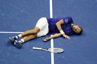 The reaction: Daniil Medvedev after the final point.
