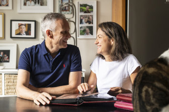 Husband and wife Ilana and Grant McCorquodale are both working from home.