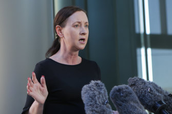 Queensland Health Minister Yvette D'Ath holds a doorstop press conference on Thursday after issues arose with a COVID-19 vaccination incentive scheme involving tickets to NRL finals on the weekend.