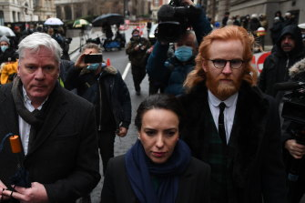 Editor-in-chief of WikiLeaks Kristinn Hrafnsson (left) and Julian Assange's girlfriend, Stella Moris-Smith Robertson (centre), arrive for the hearing.