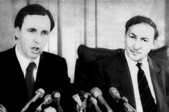 Paul Keating in a press conference in 1983.